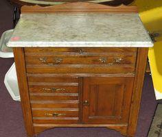 Antique Marble Top Wash Stand Victorian Oak Cabinet Dovetailed Dresser Drawer   eBay