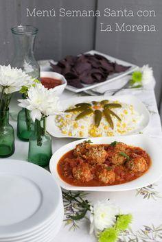 Menú de Semana Santa: Albóndigas de pescado en salsa de tomates y chipotle, arroz con jalapeños y choclo. Una combinación deliciosa que aprendí de mis amigas mexicanas. #VivaLaMorena #ad #cbias