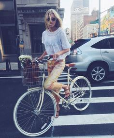 Victoria's Secret Angel Elsa Hosk Perfects the Easy, Breezy Summer Biking Look