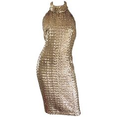 Incredible 1960s Joseph Magnin Gold Sequin Vintage 60s Open Back Wiggle Dress | From a collection of rare vintage evening dresses and gowns at https://www.1stdibs.com/fashion/clothing/evening-dresses/