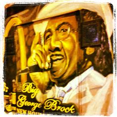 The back of old Delta-born bluesman Big George Brock's last tour bus. It now sits quietly in a St. Louis junkyard. Fortunately, Theo Dasbach and I were able to rescue the back doors (shown here) for Theo's Rock & Blues Museum in Clarksdale, Mississippi. Painting by Carol Boss based on photo by Joe Rosen.