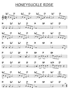 Piano Jazz, Free Jazz, Music Sheets, Sheet Music, Honeysuckle Rose, Rose Music, Music Tabs, Jazz Standard, Lead Sheet