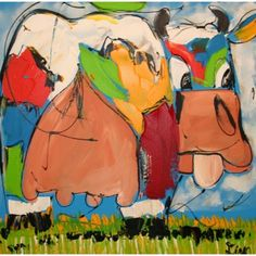Grappige koe, Funny cow - handpainted in the Netherlands