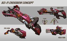 ArtStation - scifi crossbow concept, Rock D Concept Weapons, Sci Fi Weapons, Weapons Guns, Fantasy Weapons, Fantasy Armor, Future Weapons, Crossbow, Shotgun, Cyberpunk Rpg