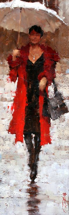 Andre Kohn, Vintage Oscar de la Renta 36 x 12 Oil Umbrella Art, White Umbrella, Rain Art, Foto Art, Beautiful Paintings, Black Art, Painting & Drawing, Lady In Red, Art Gallery