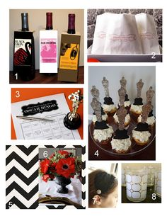 Oscar party roundup - from wine bottle labels to centerpieces to cupcakes!