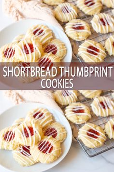baking recipes These buttery shortbread thumbprint cookies are flavored with almond, filled with cherry jam, and drizzled with a simple icing. Add these festive cookies into your holiday cookie tin! Easy Cookie Recipes, Sweet Recipes, Baking Recipes, Apple Recipes, Salmon Recipes, Shrimp Recipes, Pumpkin Recipes, Pasta Recipes, Simple Sweets Recipes