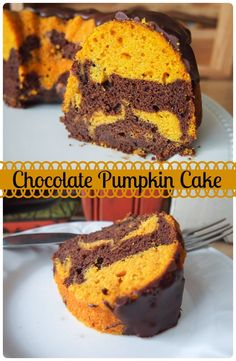 Chocolate Pumpkin Cake - This bundt cake features chocolate and pumpkin batter swirled together and topped off with chocolate sauce - a perfect fall cake or Halloween treat.