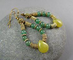 SALE Green Gemstone Earrings Olive Jade by goodmedicinegemstone