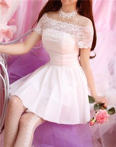 "A dreamy Sweet lace dew shoulder dress with the perfect ballet flats! Can it get any better than this?   $26.00 Coupon code ""cutekawaii"" for 10% off"