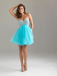 Short Strapless Sweetheart Dress with Ruffled Organza Skirt ...