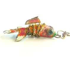 ☛SOLD at www.etsy.com/shop to Perpignon, France ~ vintage mid century cloissone enamel Chinese fantail articulated jointed body KOI fish pendant; colorful orange, red, white, green, turquoise; I added a sterling silver Italy twisted chain 18 inch necklace; perfect for a Chinese wedding or to accessorize your Asian style fashions; recycled and eco friendly fashion accessory statement; [*Click on image for full details, measurements and 4 more photo views]☚