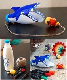 Empty plastic bottles game The Shark Game Projects For Kids, Diy For Kids, Craft Projects, Crafts For Kids, Water Bottle Crafts, Plastic Bottle Crafts, Empty Plastic Bottles, Plastic Eggs, Craft Activities