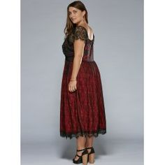 Plus Size Low Cut Empire Waist Lace Prom Dress - Red Xl