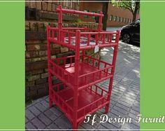 Mueble pintado estilo Oriental, Mueble Rojo de bambu, Mueble Auxiliarde Salón, Mueble Baño, Mueble Revistero, Mueble Estantes, Pieza única