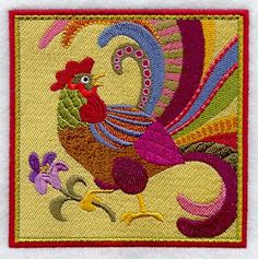 Folk Rooster Tile Embroidered Flour Sack by EmbroideryEverywhere, $18.99