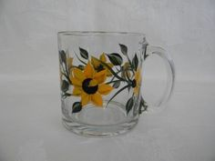 Hand painted mug painted mug with Sunflowers by Tea Mugs, Coffee Mugs, Hand Painted Mugs, Sunflowers, Vines, Birthday Gifts, Glass, Green, Etsy