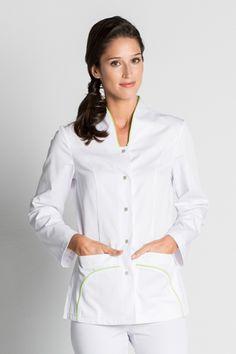 Ropa laboral sanitaria y vestuario de trabajo - Vestuario laboral online - Ropa de trabajo sanidad, chaqueta enfermera, chaqueta médico, clínica y farmacia. Vet Scrubs, Scrub Jackets, Medical Uniforms, Uniform Design, White Tops, Dress Making, Chef Jackets, White Dress, Suits