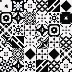 articima cement tiles patchwork - black & white    articima zementfliesen patchwork