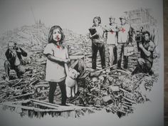 Image: Media in War by Banksy, an example of how the artist explores street art and graffiti art to make statements about social issues. Banksy Graffiti, Street Art Banksy, Arte Banksy, Banksy Work, Bansky, Graffiti Artists, Banksy Photo, Stencilling Techniques, Pop Art