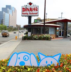 Caption This: Our mascots had a craving for oven baked pancakes, after eating at Dinah's they...