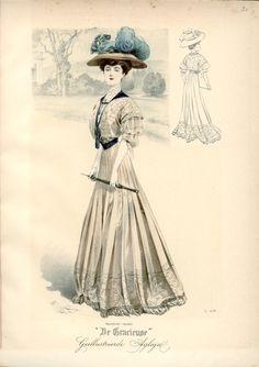 [De Gracieuse] Visite- en wandeltoilet (October 1907)