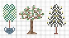 A Thing as Lovely as a Tree:   A mini cross stitch chart with three tree motifs. Each is the perfect size for a Christmas decoration, pin keeper, or floss tag.