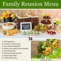 Family Reunion Menu from Tastefully Simple featuring Tangy Veggie Salad, Smoky Bacon BBQ Turkey Meatballs, Dill Veggie Pizza and more!