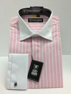Stacy Adams Cameo Long Sleeve Men's Dress Shirt Pink/White French Cuff #StacyAdams