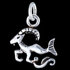Silver pendant, Capricorn Silver pendant, Ag 925/1000 - sterling silver. Unconventionally crafted Capricorn sign riding on a? wave,? tail in place of back legs. Dimensions approx. 12x20mm.