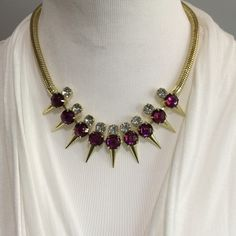 Purple and Gold Pyramid Necklace Set NWOT-Please feel free to ask questions. Price is FIRM, unless Bundled No: Holds, Trades, or PP! Thank you! Fashion Jewelry Jewelry Necklaces