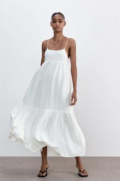 MIDI DRESS WITH PANELS | ZARA United Kingdom Vestidos Zara, Long Summer Dresses, Beach Dresses, Zara Spain, Zara Dresses, New Outfits, Everyday Fashion, Ideias Fashion, White Dress