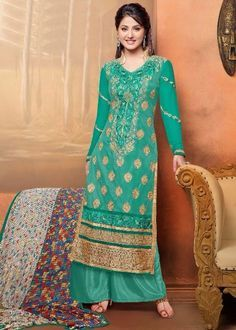 Fabric :- Georgette with Embroidery #SalwarKameez  Price :- Rs. 1260/-  Design No. : Sb-3804-49010  Product Page :- http://www.unnatiexports.com/design/closeup/women-party-wear-suits-a-1038-b-6.html