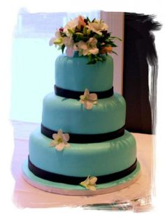 Turquoise And Chocolate Brown Wedding Cake Cakes