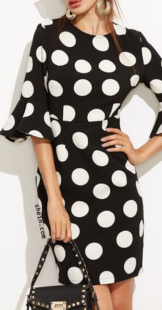 Black polka dot ruffle sleeve sheath dress.