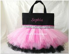 This is crazy cute! Monogrammed Tutu Bag Pink and Black Zebra Ribbon by kidsbowtique, $29.95