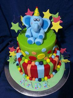 Bright fondant cake for a 1st birthday!