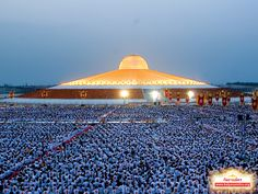 Wat Phra Dhammakaya is sacred ground to members of the Dhammakaya Movement, a once controversial Buddhist sect. But to non-devotees, this temple simply looks out of this world.    The temple attracts a large following. Here, ordinary believers gathered in 2010 for what is known the Morality Revival Project: One-hundred thousand ordinary men elected to become monks for 49 days for spiritual cleansing.