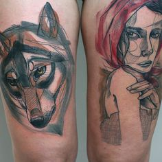 Creative, Looks like water color and pencil,, Wolf and Little Red.