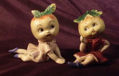 Completely adorable vintage figurines of cutie pies with apple heads.  Japan.