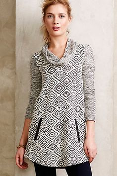 Love this look! Looks so comfy. Konya Cowlneck Tunic #anthropologie