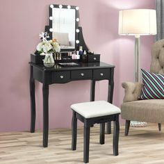 The sturdy frame structure and solid wood legs make a vanity table and stool less wobbly. Durable materials give the dresser an extremely long life. The most surprising thing is that the brightness can be adjusted indefinitely and has a memory function, so you don't need to adjust it every time you use it. The 360° rotation of the mirror allows you to adjust the desired angle easily. The design of 5 drawers and a removable storage box with 6 compartments can meet your need for storing…