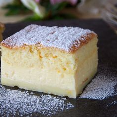 The 'magic' of the cake is that you make onlyone custard-like batter, which then separates into three layers while it...