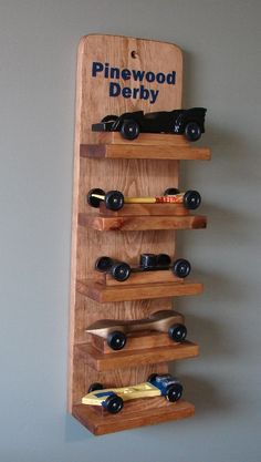 Scout Pinewood Derby Car Display Shelf - One Display Shelf-This item will be made from solid pine. The five shelves are screwed to the back for strength. This shelf is plain with no stain , sealed with protective finish to bring out the beautiful woo Cub Scout Activities, Activities For Kids, Cub Scouts, Girl Scouts, Pallet Projects, Diy Projects, Pallet Display, Pinewood Derby Cars, Display Shelves