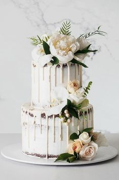 11 Amazing Wedding Cake Designers We Totally Love ❤ wedding cake designers small white naked with drips and white roses and peonies cake_ink cake decorating recipes anniversaire chocolat de paques cakes ideas Wedding Cake Cookies, Wedding Cake Roses, Buttercream Wedding Cake, Amazing Wedding Cakes, White Wedding Cakes, Elegant Wedding Cakes, Elegant Cakes, Wedding Cake Designs, Trendy Wedding