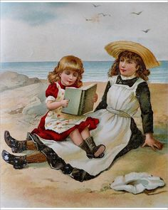 """Photograph-Two girls sitting on beach reading a book-10""""x8"""" Photo Print expertly made in the USA"""