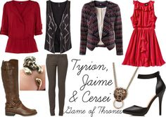 """""""Inspired By: Game of Thrones -- Tyrion, Jaime & Cersei"""" by sarastrauss on Polyvore"""