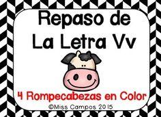 Centros de lectoescritura para la letra v, 4 ROMPECABEZAS (VA, VE, VI, VO, VU REVIEW PUZZLES), SPANISH ALPHABET LETTER V