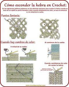Cerrar o rematar tejido a crochet y esconder la hebra Crochet Video, Crochet Cord, Crochet Instructions, Crochet Stitches Patterns, Love Crochet, Irish Crochet, Crochet Motif, Stitch Patterns, Crochet Symbols