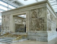 """The Ara Pacis Augustae (Latin, """"Altar of Augustan Peace""""; commonly shortened to Ara Pacis) is an altar in Rome dedicated to Pax, the Roman goddess of Peace."""